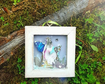 Mini 3x3 canvas mixed media summer fairy