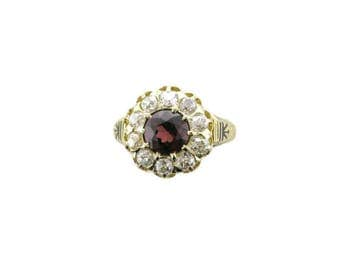 Victorian Garnet and Diamond Ring; Vintage Garnet ring; Garnet and Diamond Cocktail Ring; Antique Garnet and diamond ring