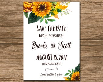 Save the Date, Save Our Date, Wedding Announcement - PRINTABLE file - garden wedding, rustic wedding, watercolor sunflowers, leaves - Brooke