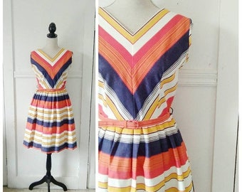 20% OFF / The Yacht Club 1950s Red/Orange/Mustard Yellow/Denim/Cream Stripe/Chevron Cotton Dress