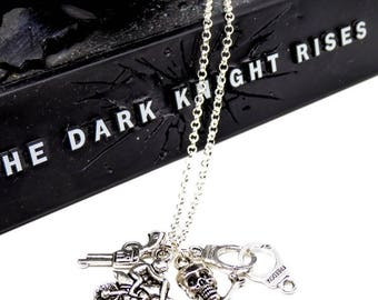 Revolver handcuffs motorcycle man silver necklace and pirate