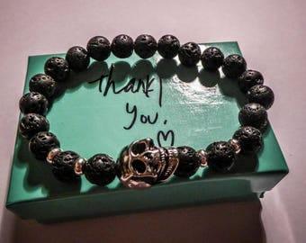 Bracelet black lava stone beads Skulls MC Ink