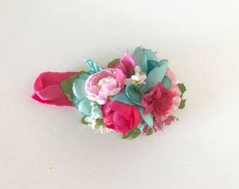Pink and teal floral headband