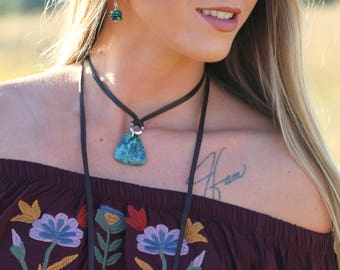 Cayden Leather Western Choker Necklace--Turquoise or Stone Pendant, Boho