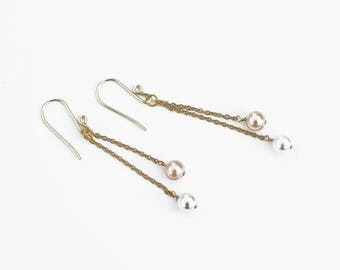 Blush and White Pearl on Chain Earrings