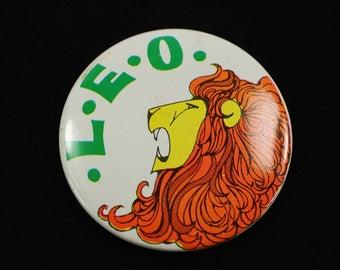 Vintage Leo Astrology Pinback Button
