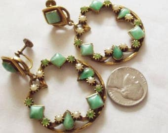 Earrings Vintage Dangle Hoops Gorgeous Glass Green Stones Crystals and Pearls Statement Earrings Forest to Runway