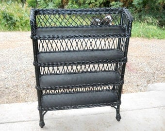 Victorian 1880's French Country Heywood Wakefield Bar Harbor Wicker Willow and Wood Antique Cottage Farmhouse Bookcase Shelves Display