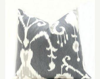 15% Off Sale GRAY PILLOW, ikat pillow, Decorative gray pillow  ONE 12x16 or 12x18 Lumbar Pillow Cover. Gray Ikat pillow covers.Dark Grey Hou