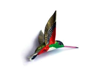 Paper machè  Bird sculpture Hummingbird Art figurine