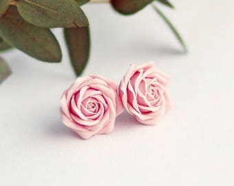SALE Soft pink rose studs, sterling silver 925 flower studs, pink roses, poink flower studs, gift for women, gift for her, fashion studs, we
