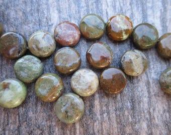 Rain Forest Jasper, 10mm round flat coin beads. Rhyolite 1/2 strand 20 beads Earth tones green, brown, rust