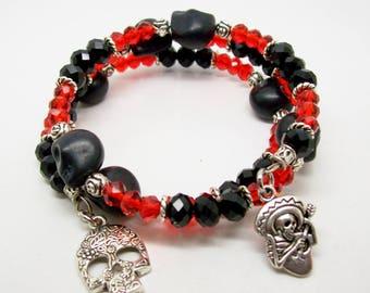 Sugar Skull Memory Wire Bracelet - Skull Wrap Bracelet - Day Of The Dead Bracelet - Howlite Gemstone - Beaded Bracelet - Skull Jewelry