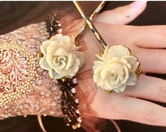 1stDayofSummerSALE Ivory Cream Rose Bridal Hair Pins Jewelry Decorative 1930 1940 Celluloid Champagne Bobby Pins