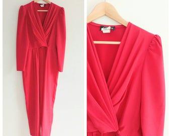 Vintage 1970s 70s Red Jumpsuit Pantsuit Romper One Piece Pleated Wrap Shoulderpads