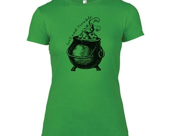 TOIL AND TROUBLE Cauldron Ladies Halloween T-Shirt