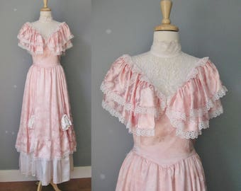 Gunne Sax Prom Dress / Vtg 70s / Pink Satin and Lace Gunne Sax Gown /
