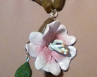 Light Pink Cherry Blossom Hand Sculpted Clay Necklace