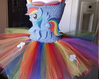 Rainbow Dash or any My Little Pony Costume Flower Girl Tutu Dress
