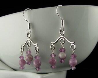 Amethyst and Sterling Silver Chandelier Earrings