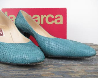 Turquoise Snakeskin Pumps, Size 39, La Marca Shoes, Italian Shoes, Vintage High Heels