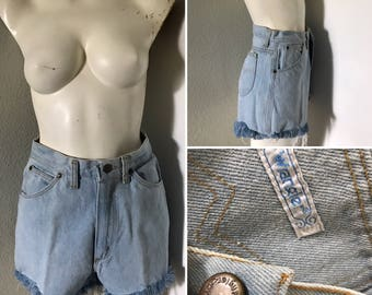 Vintage denim shorts cut offs 70s jeans wrangler mom jeans high waisted fringe denim shorts bleached out
