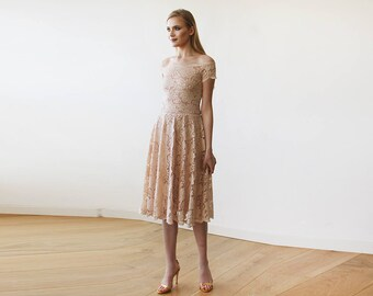 Blush Pink Off-The-Shoulder Short Sleeves Lace Midi Dress 1158