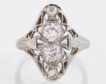 Antique Engagement Ring - Antique 1920's 18k White Gold Belais Diamond Ring