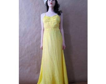Vintage 1930s Slip Dress / Yellow / Gown / S