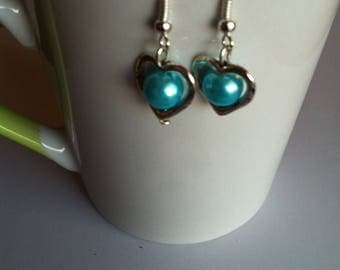 Valentine hearts and turquoise beads earrings