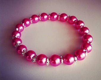 Bracelet soft pink pearls and small silver flowers