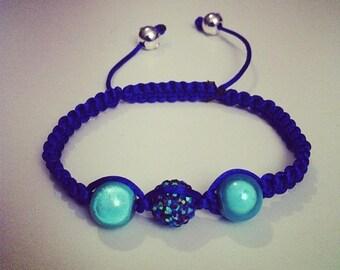 Shamballa bracelet adjustable blue and turquoise #168