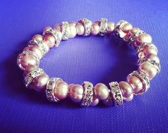 Pink freshwater pearls bracelet