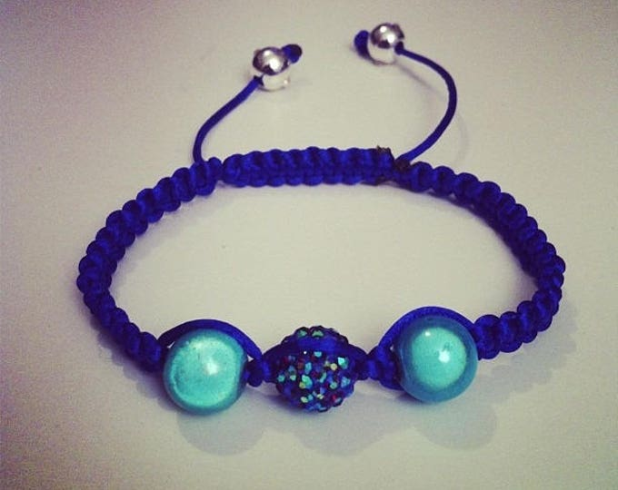 Shamballa bracelet adjustable blue and turquoise #168