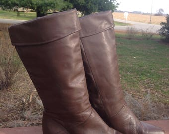 Vintage Tall Brown Leather Riding Boots Women's Size 7.5, From the 1980s