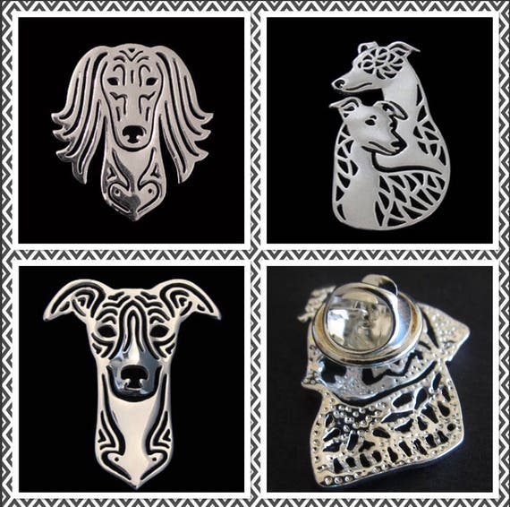 Lovely whippet greyhound and saluki Lapel Pin brooch