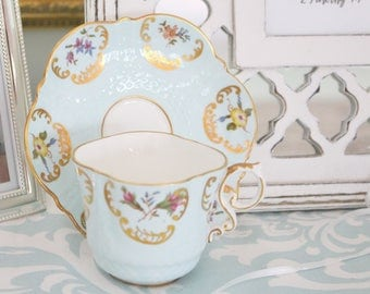 RARE, SQUARE Shape Tea Cup & Saucer by John Aynsley, English Fine Bone China, Tea Party, Gifts for Her - ca. 1934 - 1950s