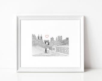 Canoodle Doodle No. 38 - Bow Bridge Central Park ART PRINT // Gift for His or Her Birthday Anniversary Wedding Christmas Valentine
