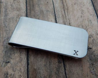 Roman Numeral Ten Year Anniversary Hand Stamped Money Clip - Employment 10 Year Service  Award - Custom - Gift for Him - kg53