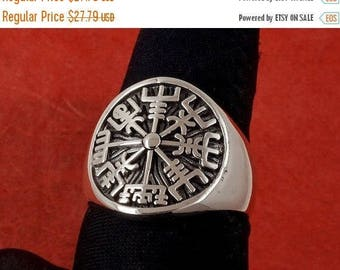 ON SALE Sterling Silver Icelandic Vegvísir Ring, A Protection Symbol, Magical Staves Compass, Free Shipping