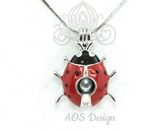 Ladybug Red Enamel Pearl Cage Necklace Silver Plated Locket Charm Bug Insect