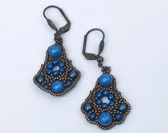 Blue Beaded Earrings Brass Bead Earrings Blue Drop Earrings Beadwoven Earrings Beadwork Earrings Blue Beaded Dangles Blue Dangle Earrings