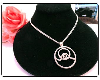 """Double Sterling Silver Chain Necklace with Abstract Silver Tone Pendant - Signed 925 18"""" Chain  - Vintage MOD Retro Neck-7103e-061717135"""