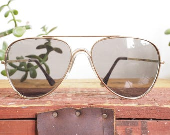 Vintage Aviator Sunglasses 1970's New Old Stock By Foster Grant Made in Taiwan Great lens color BY Foster Grant Grey Lens