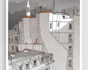 30% OFF SALE: In an Old House In Paris (grey version) - Illustration Fine Art Print Prints Posters Home Decor Architectural Drawing Facade P