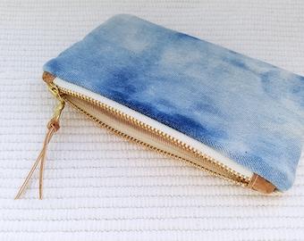 Sky Reverse Shibori Coin Purse - Shibori purse - Blue purse
