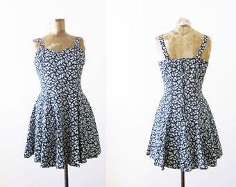 90s Floral Mini Dress / 1990s Contempo Casuals Skater Dress / Black White Ditsy Flower Print Sundress / Grunge Dress / 90s Dress XS