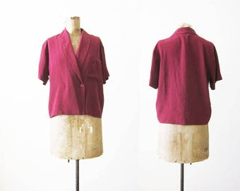 Vintage 80s Shirt - Silk Blouse - Burgundy Red Silk Top - Boxy Top - 80s Clothing - Structural - Pocket Blouse - S M