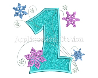 Snowflakes Number One 1st Birthday Applique Machine Embroidery Design first winter frozen INSTANT DOWNLOAD