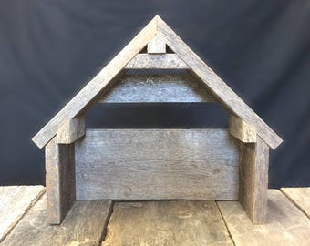 Nativity Stable, Nativity Creche Reclaimed Barnwood Manger, Nativity